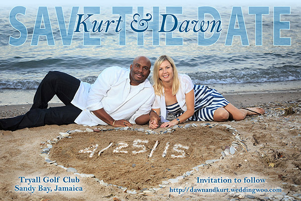 Engaged couple's Save the Date Card photo