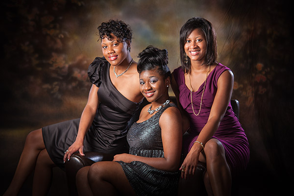 Three black women in studio portrait